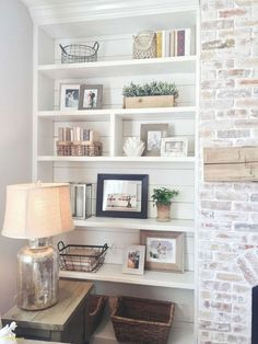 Awesome Rustic Farmhouse Brick Fireplace Rustic Farmhouse Brick Fireplace - Awesome Rustic Farmhouse Brick Fireplace , Living Room Design Rustic Awesome Built In Bookshelves Styling Home Living Room, Living Room Designs, Living Room Decor, Living Room No Fireplace, Apartment Living, Rustic Fireplace Decor, Farmhouse Fireplace, Fireplace Mantle, Fireplace Ideas