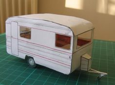 Camp-Inn Trailer Free Paper Model With Interior - by Tesserault - See more images and download this cool free paper model at Papermau!