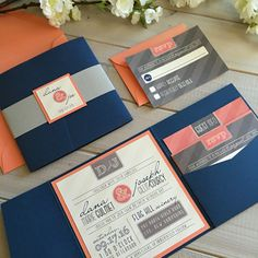 Navy, coral and gray pocket wedding invitations by Inspiration I Do www.inspirationido.com