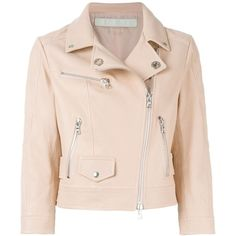 Drome Classic Biker Jacket ($608) ❤ liked on Polyvore featuring outerwear, jackets, pink motorcycle jacket, lambskin leather jacket, lambskin jacket, motorcycle jacket and pink biker jacket