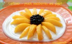 Sunflower - peach, blackberries and yogurt dessert - Kiddie Foodies