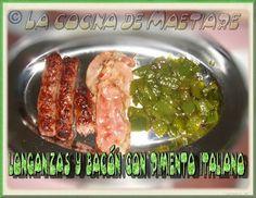 La cocina de Maetiare: Longanizas y bacón con pimiento italiano