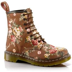 Dr. Martens 1460 Floral Lace-Up Boot (1,285 INR) ❤ liked on Polyvore featuring shoes, boots, ankle booties, taupe, ankle boots, taupe boots, short boots, chukka boots and platform boots