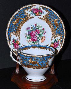 FOLEY-BLUE-MONTROSE-RARE-034-E-BRAIN-amp-Co-LTD-ENGLISH-BONE-CHINA-CUP-amp-SAUCER Vintage Cups, Vintage Tea, Chinese Tea Cups, Bone China Tea Cups, Bird Tree, Tea Cup Saucer, Fine China, Pink And Gold, Tea Time