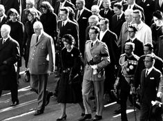 Foreign dignitaries walk up Connecticut Avenue for President John F. Kennedy's funeral service. In the front row, from left, are Heinrich Luebke, President of West Germany; President Charles de Gaulle of France; Queen Frederika of Greece; King Baudouin of Belgium; Emperor Haile Selassie of Ethi­o­pia; Philippines President Diosdado Macapagal and South Korean President Chung Hee Park.