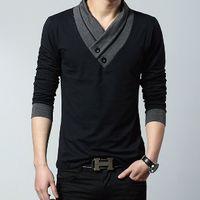 Men's V neck shawl collar casual wear in Black -