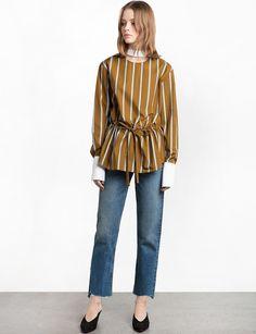 Mustard Stripe Choker Shirt