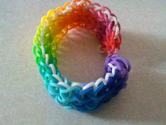 Rainbow Loom Bracelet in Bright Vibrant RAIN BOW by BACK2YESTERDAY