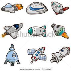 cartoon spaceship icon - stock vector