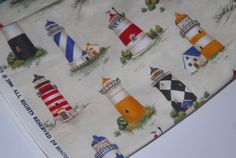 SALE 25% OFF Retro Beacons Lighthouse Nautical Fabric by Timeless Treasures - Pattern C8250 Beacon 100 Percent High Quality Cotton Rare - $2.24 USD