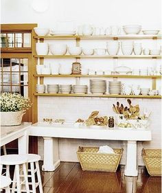 At Martha's summer home on the coast of Maine, she displays her white dishes on open shelving. Yes-open shelving Kitchen Shelves, Kitchen Storage, Kitchen Decor, Cupboards, Wall Shelves, Wall Storage, Dish Storage, Open Cabinets, Kitchen Cabinets