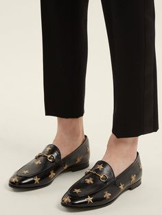 d239413d2 Lyst - Gucci Jordaan Embroidered Leather Loafers in Black Leather Loafers, Gucci  Loafers, Buy