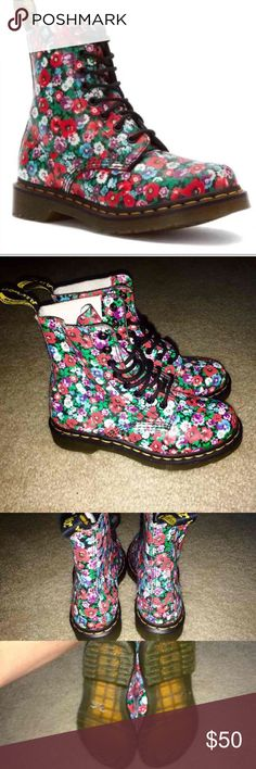 Dr. Marten Floral Pascal Boots Beautiful Wild Poppy floral design printed on soft, grained, leather uppers. .  An 8-eyelet, shiny black ringed, lace-up climbs its way up the front over a soft, flexible tongue, fastened with rounded black laces. Inside, the boot is leather & textile lined with a padded insole. its air-cushioned sole is Goodyear welted. Size 6 great condition. Dr. Martens Shoes Ankle Boots & Booties