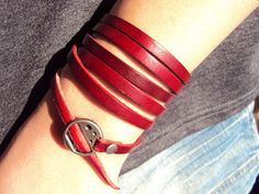 Red Leather Bracelet Leather Wrap Bracelet by LinCraftsWorkshop, $10.00