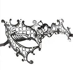 Signstek Laser-Cut Metal Schwarz venezianischen Maskerade-Maske für Frauen mit Kristallen Halbaugenmaske (schwarz mit weißstraß)