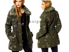 Camouflage Cargo Jacke Parka Mantel Longjacke Winter khaki Gr.32,34,36,38,40,42