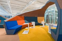 A Colorful Airport Lounge Designed to Excite - Design Milk Airport Design, Futuristic Home, Airport Lounge, Lounge Design, Public, Co Working, Lounge Areas, Bar Lounge, Hospitality Design