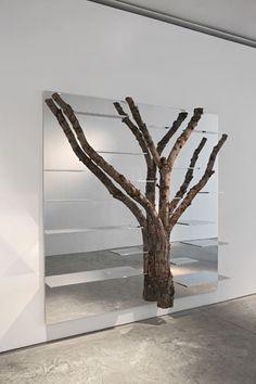Tree 6 shelf in polished aluminum with birch tree by Andrea Branzi