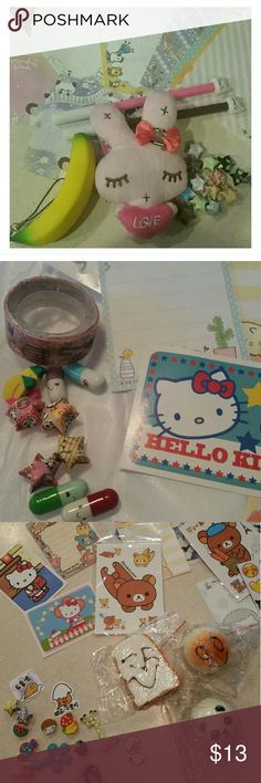 Kawaii kid Mystery cell charm  keychain 2 pc Kawaii spook.box bonus total 25 items stationary and more  2 surprise squishy cell charm/keychain  All.new items please see samples they r great boutique Accessories