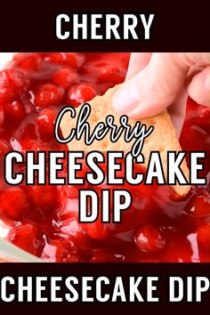 Have the taste of classic cherry cheesecake to your party without all the trouble thanks to this easy four-ingredient cherry cheesecake dip. Perfect to make in advance and easy to customize with different cookies or crackers. Dip Recipes, Appetizer Recipes, Sweet Recipes, Appetizers, Cooking Recipes, Easy Recipes, Cooking Ribs, Cooking Videos, Recipies