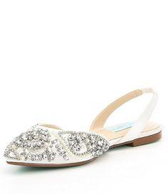 Nina Kiyrah Satin Rhinestone Detail Block Heel Dress Flats w5AiAyYE