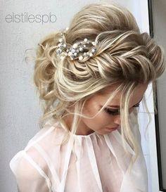 Elstile braided messy bridal hairstyle - Deer Pearl Flowers / http://www.deerpearlflowers.com/wedding-hairstyle-inspiration/elstile-braided-messy-bridal-hairstyle/