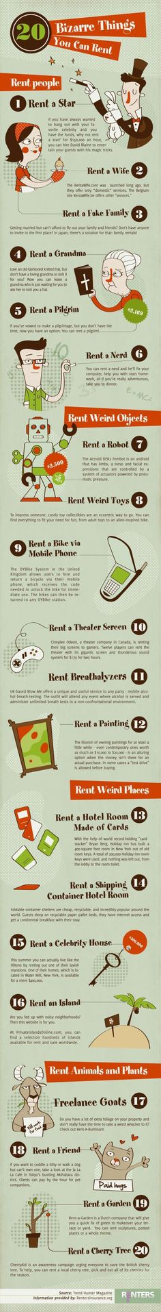 20 strange things you can rent