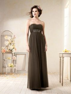 6e8a171f0ec Alfred Angelo Style floor length strapless bridesmaid dress featuring short  ruffle at neckline