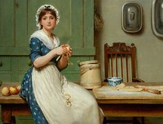 Apple Dumplings by Leslie, George Dunlop oil on canvas © Hartlepool Museum Service, Cleveland, UK English, out of copyright William Adolphe Bouguereau, Winslow Homer, St John's, Art Ancien, Carl Larsson, Apple Dumplings, Art Uk, Beautiful Paintings, Romantic Paintings
