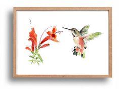 Holiday sale Hummingbird art print hummingbird by TheJoyofColor