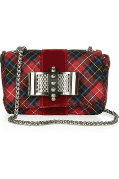 Christian Louboutin | Sweety Charity bow-embellished tartan shoulder bag | NET-A-PORTER.COM