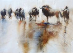 Painting by Mariana Zwaan. Blue wildebeest from the Kgalagadi in South Africa