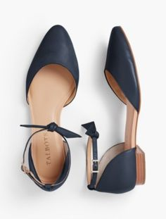 Talbots: Edison Ankle Strap D'Orsay Flats : Soft Napa Leather