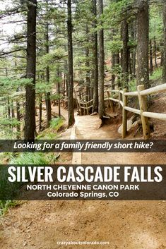 Silver Cascade Falls Trails in North Cheyenne Canon Park is a short family and visitor friendly hike just minutes from Colorado Springs, in the mountains. A beautiful park.