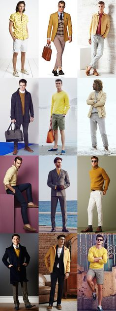 5 Underused Menswear Colours: 5. Yellow (paired with Neutrals - particularly white, pale grey, charcoal and navy) Lookbook Inspiration