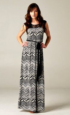 Black // White Print Dress.  Stich fix stylists I would love a mixed media maxi dress like this!