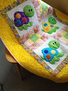 Baby girl turtle quilt by Serenstitches on Etsy