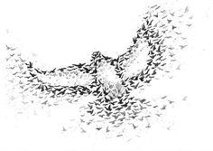 Bird Created From Flying Birds Art Print A3, Black and White Art, Bird Art, Modern Art, Wall Art Home Decor - Black Friday Etsy. $22.00, via Etsy.
