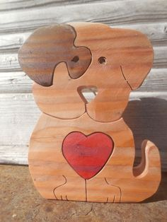 Free standing Wooden Dog,Puppy LOVE,Red Heart puzzle,4 parts. by DesertHeartsCo on Etsy