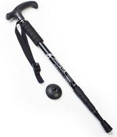 Adjustable Aluminium Antishock Hiking Walking Pole Trekking Stick Crutches Black *** Startling review available here  : Camping stuff