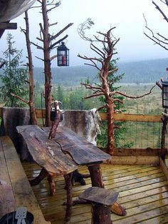 Mountain rustic cabin porch - what a great spot to hang out with the family