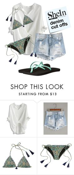 """""""denim shorts"""" by raina1060 ❤ liked on Polyvore featuring Chicwish, Post-It, Victoria's Secret and Reef"""