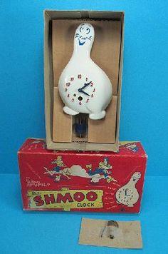 Vintage Li'l Abner Lux Shmoo Clock Original Box 1940s