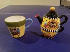 Mary Engelbreit Disney Mickey Minnie Tea for Three Teapot and Flower Pot Mug