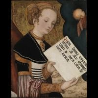 Female saint (Agnes?) with a page [fragment from the 'Prague Altarpiece']  about 1520 - 1522  Lucas Cranach the Elder (Workshop) interesting sleeves and shoulder wrap about 1520 - 1522  Lucas Cranach the Elder (Workshop)