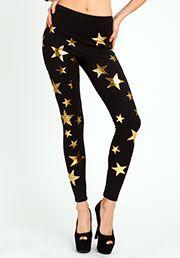 black gold star leggings