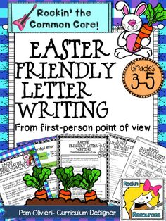 Easter Friendly letter writing from the first-person point of view.  You are the Easter bunny.  Choose from the fun prompts to write about on the student template.  Friendly letter slides included! $  #rockinresources  #friendlyletter  #easter