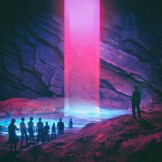SF, fantasy, post-apocalypse, and other genre visual arts. Explore the visual aspects of imagined worlds. All speculative visual arts are. Vaporwave, Science Fiction, Ruined City, Neon Aesthetic, Cyberpunk Aesthetic, Retro Waves, Fantasy Landscape, Retro Futurism, Monsters