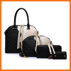 Symbolove Womens Modern Simple For-Piece Top Handle Bag and Leather Satchel Handbag-C3 - Top handle bags (*Amazon Partner-Link)