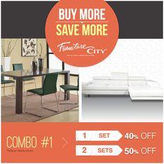 COMBO #1: ¡Llévate un comedor o una sala y obtén 40% de descuento, o llévate los dos sets y obtienes 50% de descuento! Buy more, save more!